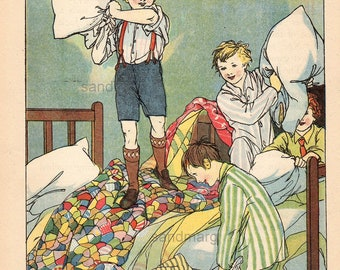 Vintage Storybook Illustration Pillow Fight  The Battle of the Pillows Ruth Cobb 1921