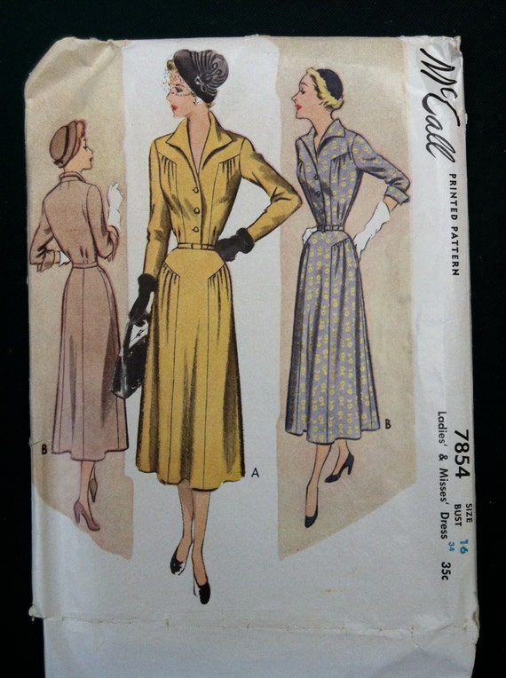 vintage 1950s dress pattern McCalls 7854