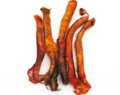 Silk carrier rods - hand dyed - orange, terracotta, brown, rust, copper, dark red