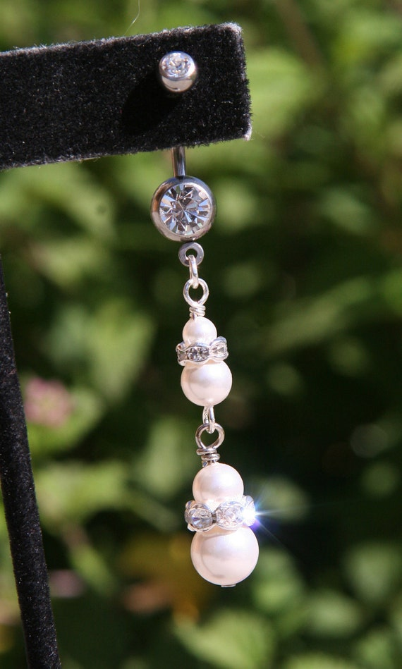 Belly Button Ring 2 Tier White Pearls N Rhinestones Wedding DeSIGNeR Piercing Accessory Sexy Romantic Honeymoon
