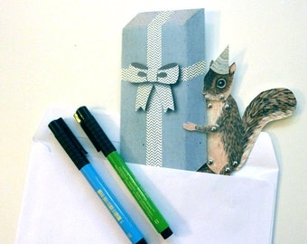 DIY Birthday Squirrel Card Printable PDF Paper Puppet for Children, for Paper Play, Unique Fun, Blue, Brown, White, Gift