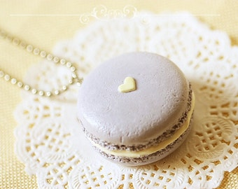 Food Jewelry - Mauvey Love Macaron Necklace - Gift For Her