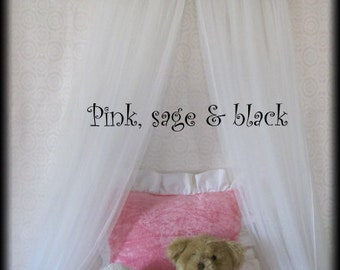 Bed CROWN Canopy Princess FrEe Embroidered Personalized Monogram Pink Black Soft green