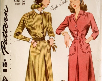 Vintage 1940s Wartime Dress Pattern Simplicity 4873 Bust 30 Factory Folded