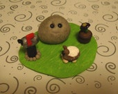 ON SALE - Pet Rock with Pet Guinea Pig and Violet