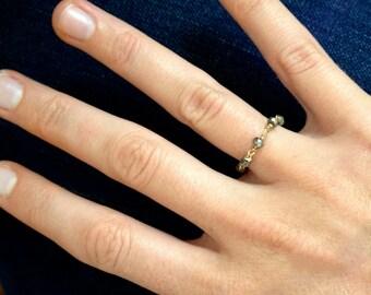 Pyrite Stone Chain Ring