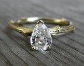 Pear White Sapphire Twig Engagement Ring: White, Yellow, or Rose Gold