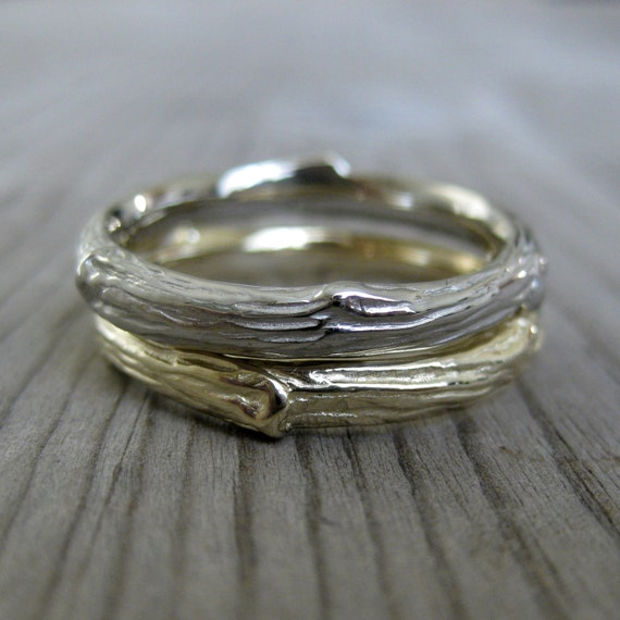 Twig Wedding Band Set: Two 3mm Rings, 14k Gold