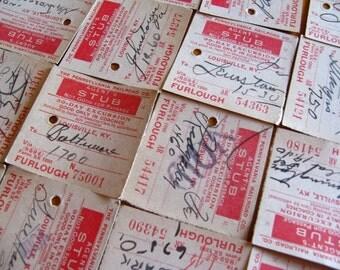 vintage railroad tickets - paper ephemera - railroad check tickets - red white - 10 - train tickets