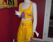 "Vintage 90's Women's Tie Back Top & Wrap Tie Pants Rayon Fabric in Yellow with Purple Floral Tropical Design Style One Size Bust 32""- 40"""
