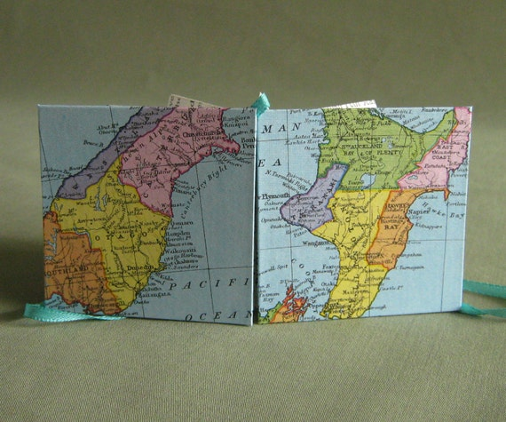 SALE New Zealand Recycled Map Star Book Mini Book or Card by PrairiePeasant