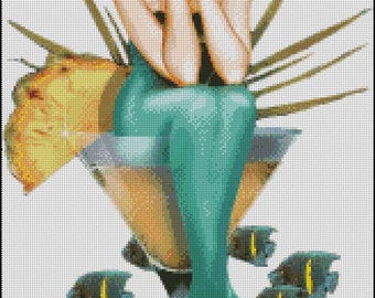 MERMAID MARTINI cross stitch pattern No.301