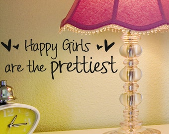 Happy Girls are the Prettiest  10 inch X 2 inch , audrey hepburn vinyl wall decal words with hearts