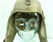 Leather Aviator Hat Retro in Taupe Khaki
