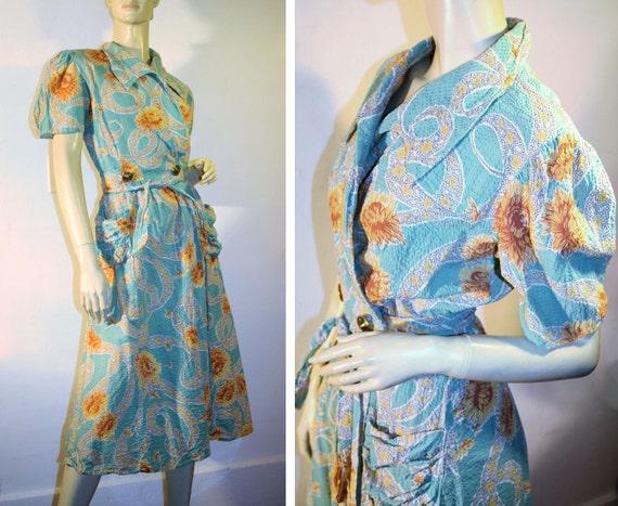 Vintage 40s Wrap Dress Aqua Orange Floral Seersucker Vali Fashion S
