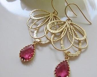 Gold Fan Earrings, Red Teardrop Earrings, Gold Feather, Bohemian, Red Crystal, Large, Bridesmaid Earrings, Wedding Jewelry, Gardendiva