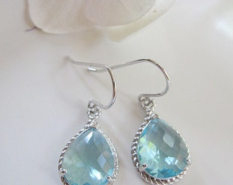 Aquamarine Earrings, Aqua Teardrop, Silver Earrings, Bridesmaid Earrings, March Birthstone, Jewelry Set, Wedding Jewelry, Gardendiva