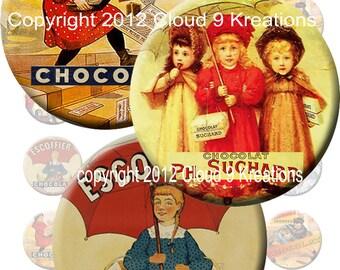 French Chocolat 1.5x1.5 Inch Circles Digital Collage Sheet