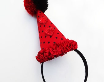 Halloween Costume, Black and Red Clown Hat, Circus Costume, Adult, Kids, Red Hearts, Black Polka Dots, Pom Pom, Burlesque, Batcakes Couture
