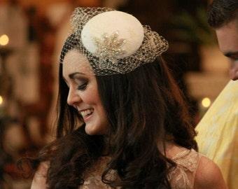 Bridal Hat - Ivory Blusher Veil - Crystal Veil - Silver Wedding Hat - White Birdcage Veil - Bridal Accessory - Mother of the Bride Hat