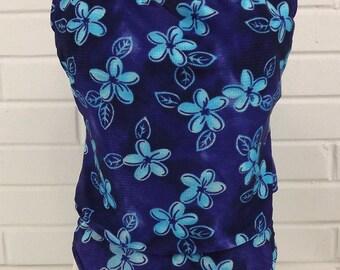 ON SALE Vintage 70s/80's SwimSuit, Size 14, Two Piece, Robin's Egg Blue and Purple, Tank Top Bathing Suit, 2 piece, Aqua Purple Swimwear