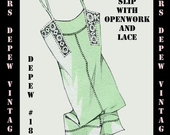 Vintage Sewing Pattern 1930's French Slip with Openwork and Lace in Any Size- PLUS Size Included- Depew 183 -INSTANT DOWNLOAD-