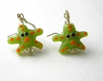 Green Starfish Earrings Lampwork Earrings Glass Earrings