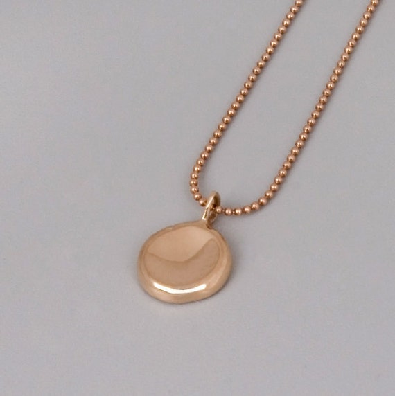 Solid Rose Gold Pebble Necklace - Handmade Solid 14k Rose ...