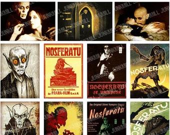 NOSFERATU - Digital Printable Collage Sheet -  Vintage Vampire Film Posters, Movie Stills, Max Schrek, Murnau, Dracula, Instant Download