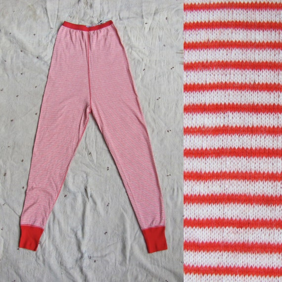 vintage c. 1960s red and white striped thermal wool blend leggings // Denmark skiwear