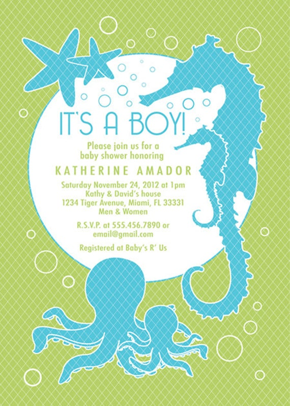 sea and ocean theme baby shower invitation custom boy, Baby shower invitation