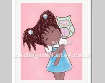 African art nursery art, baby girl nursery decor, childrens art for kids wall art, girls room decor, African American - My Lovely Owl 8x10