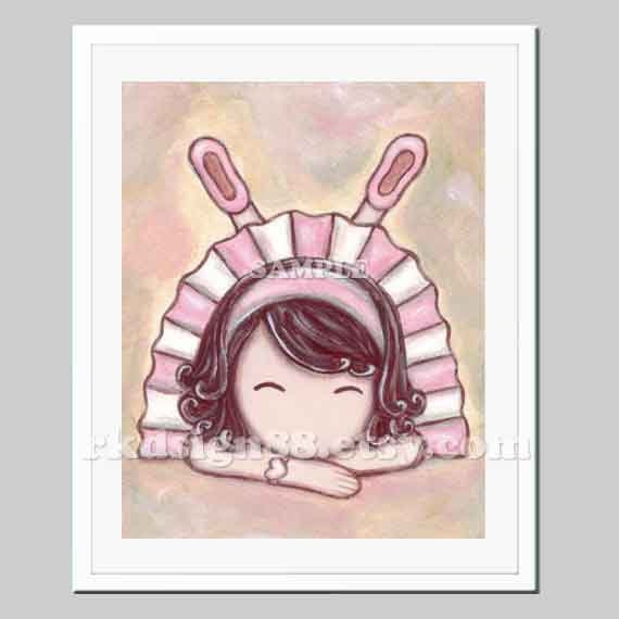 Child's Illustration -  Ballerina Art - Tutu - Baby Nursery Art Print - Girl Wall Art - Children Room - Adorable - 8x10