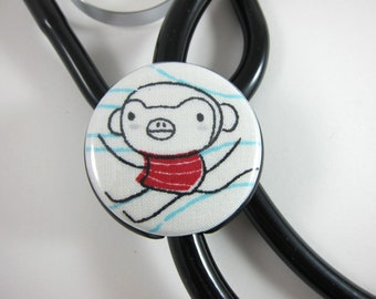 Stethoscope ID Tag Clip Charm - Doodle Monkey