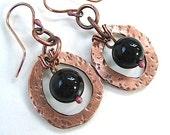 Rustic Copper Dangle Earrings Jet Black Onyx Gemstones Eco Friendly Metalwork
