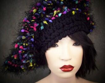 OOAK Crochet Hat, Black Crochet Hat. Triangle Beret,Women,Accessory,Hats,Handmade Hat, Multicolor Hat