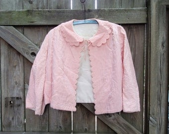 Vintage Bed Jacket -- 1960s Vintage Nanette Quilted Bed Jacket, Pink