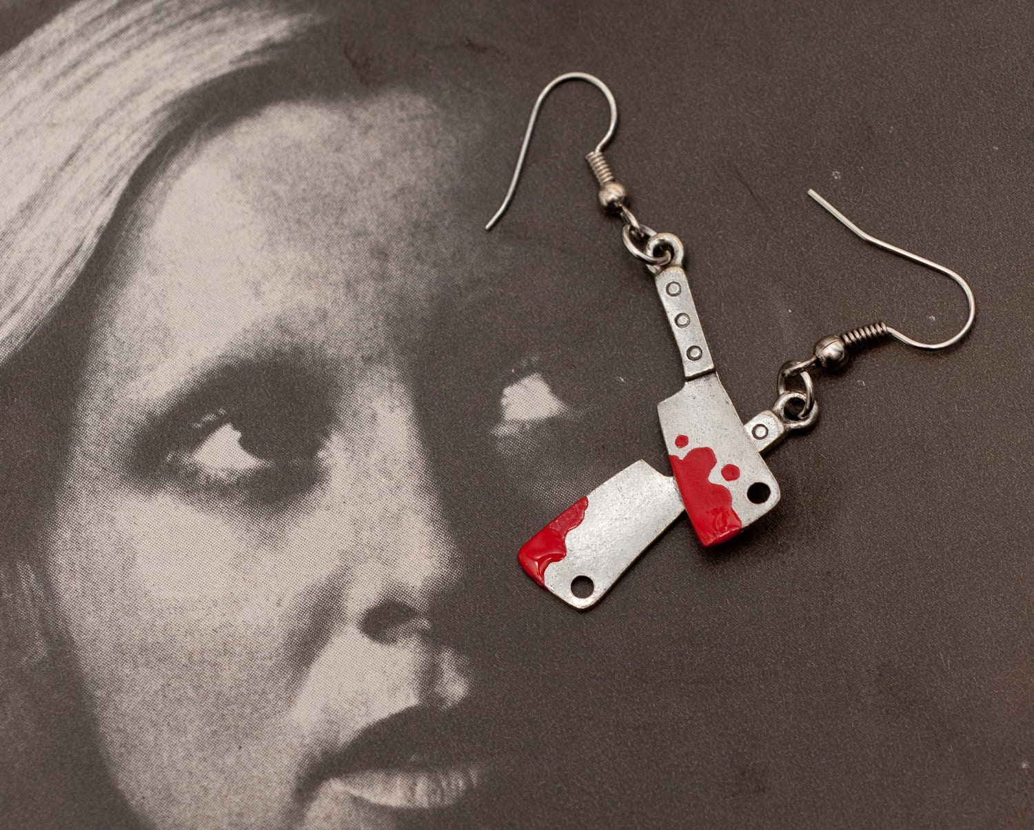 Earrings - Meat Cleavers with Icky Dripping Blood for Lovers of Tiny Evil Things - $17.00 USD