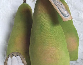 Primitive Folk Art Shabby Painted Fabric Pears Instant Download PDF File EPattern