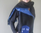 Doctor Who TARDIS INSPIRED Embroidered Hooded Scarf with pockets
