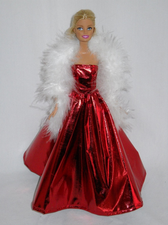 items similar to barbie doll dress handmade shiny red gown