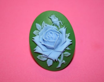 Large Blue and Green Rose Cameo Ring
