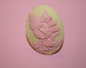 SALE Large Pink and Cream Fairy Cameo Ring