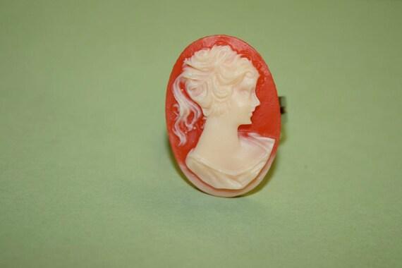 Medium Red Victorian Lady Cameo Ring