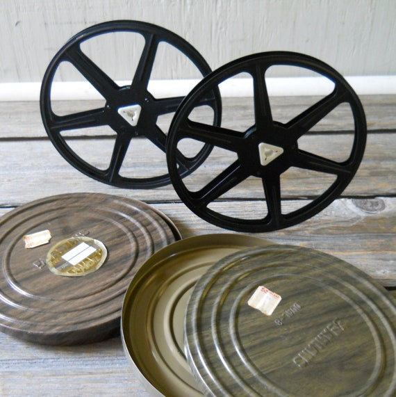 Vintage Film Reels with Faux Bois Reel Canisters Pair