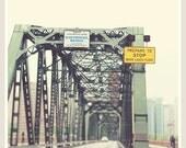 Portland photography, Hawthorne Bridge photo, Oregon travel, bicyclists, mint green, Williamette River, PNW art print