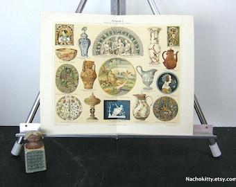 1870s Ceramics Chromolithograph Print Vibrant Color