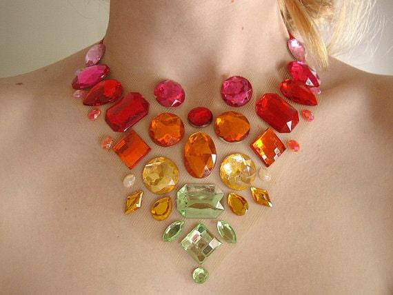 Floating Orange and Green Rhinestone Statement Necklace, Rhinestone Illusion Necklace, Floating Rhinestone Necklace, Colorful Statement