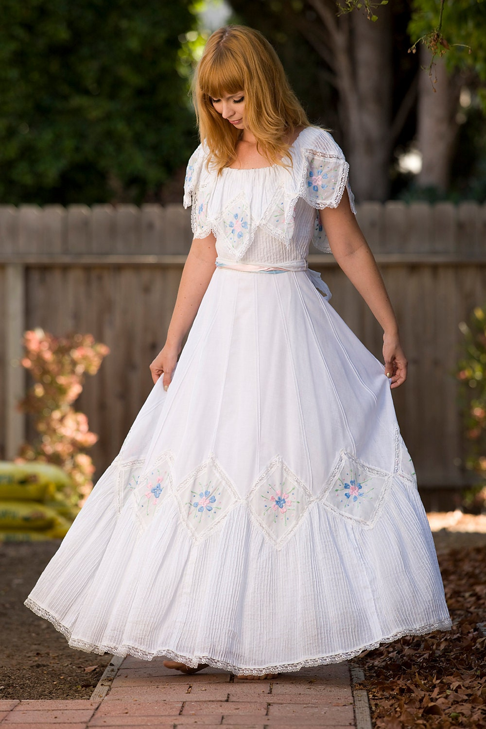 1960 S Embroidered Mexican Wedding Dress