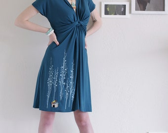 applique dress, Midi dress,Teal Blue Knee length V-neck Party Dress, Jersey dress- Surrounded by big trees